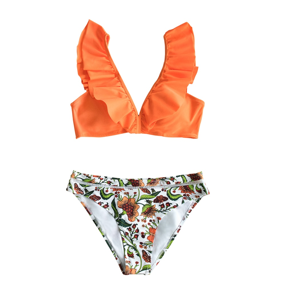 CUPSHE Orange Ruffle Bikini Sets With Floral Bottom Sexy Swimsuit Two Pieces Swimwear Women 2021 Beach Bathing Suit Biquinis